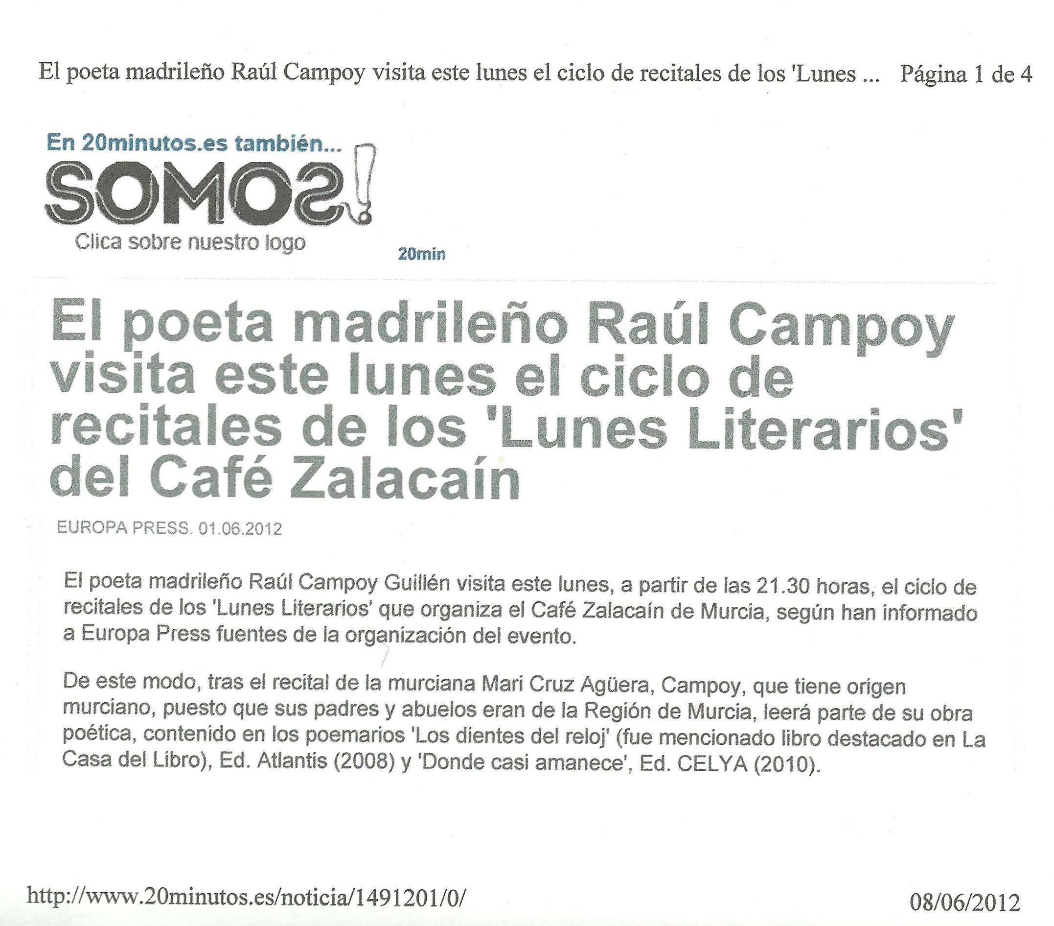 20 minutos : Los 'Lunes Literarios' del Café Zalacaín.