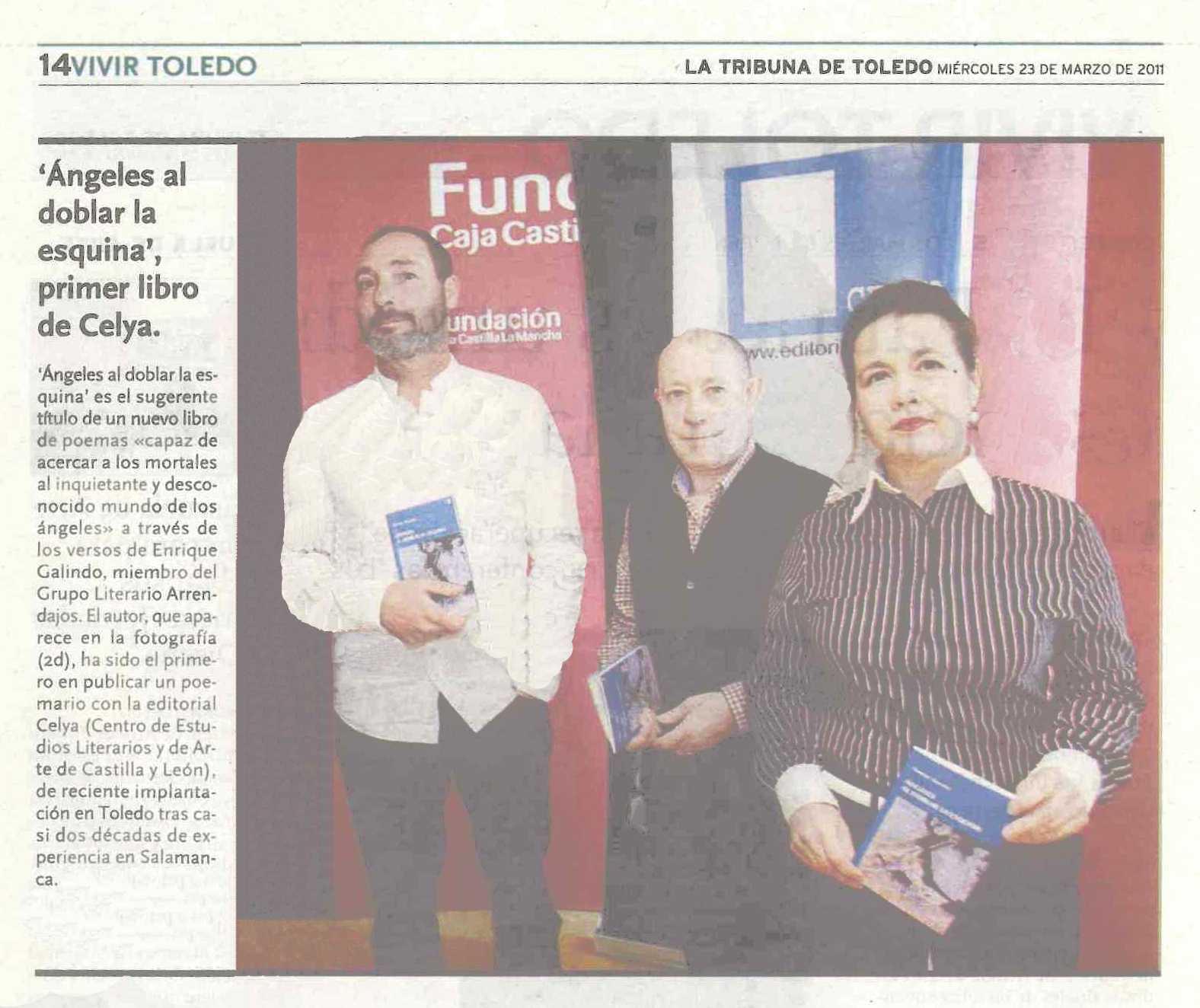 """TRIBUNA DE TOLEDO: Presentación del libro """"Ángeles al doblar la esquina"""", de Enrique Galindo."""