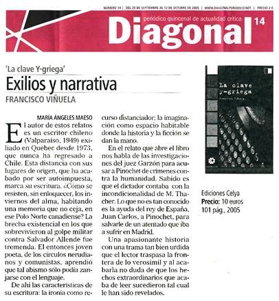 DIAGONAL: La clave Y-Griega, de Francisco Viñuela, por María Ángeles Maeso.