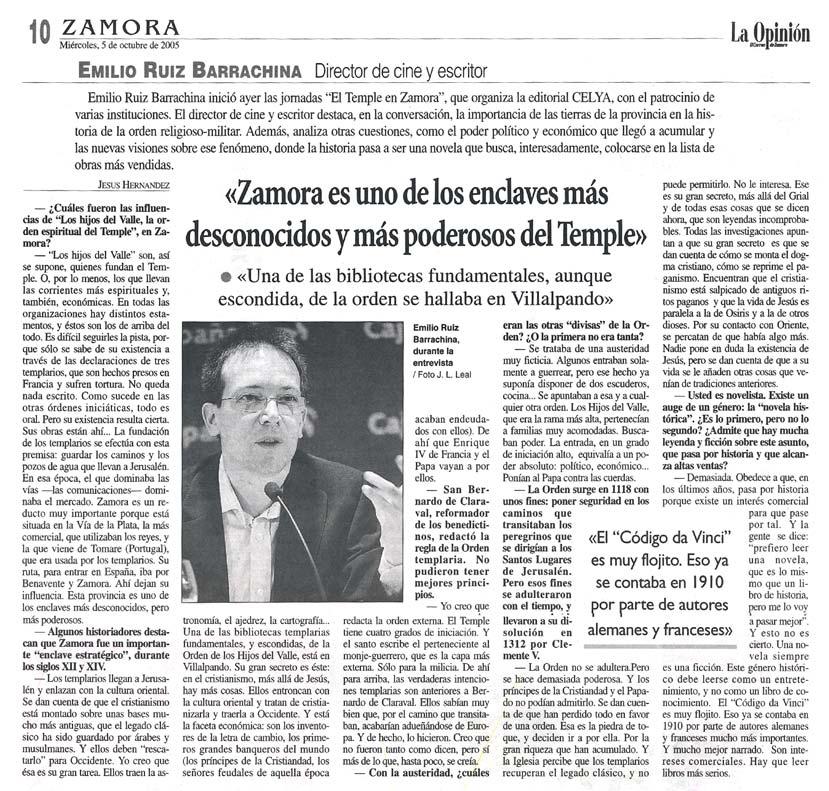 """LA OPINIÓN DE ZAMORA: I Jornadas """"EL Temple en Zamora""""."""