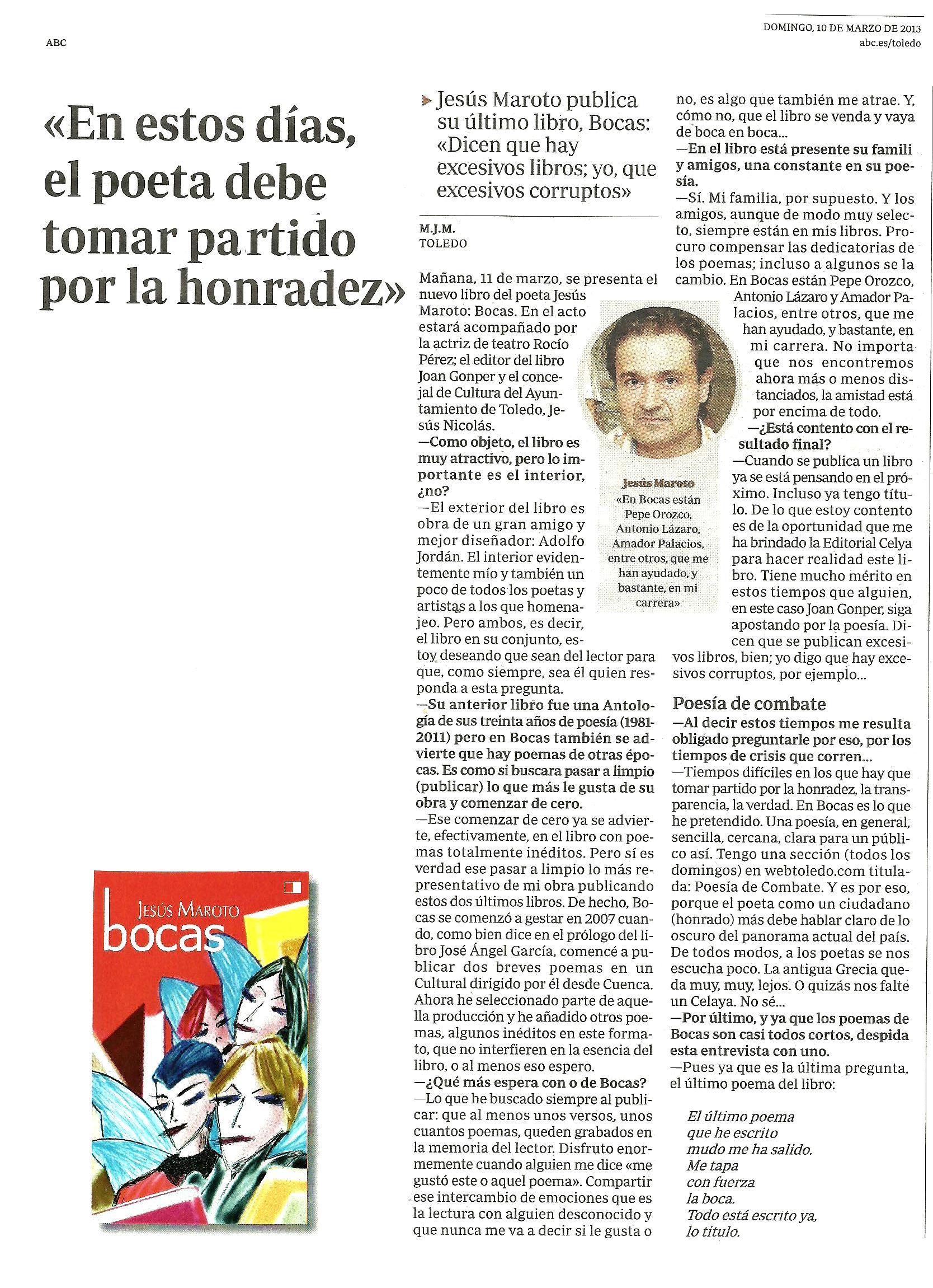 ABC : Presentación de 'Bocas' de Jesús Maroto.