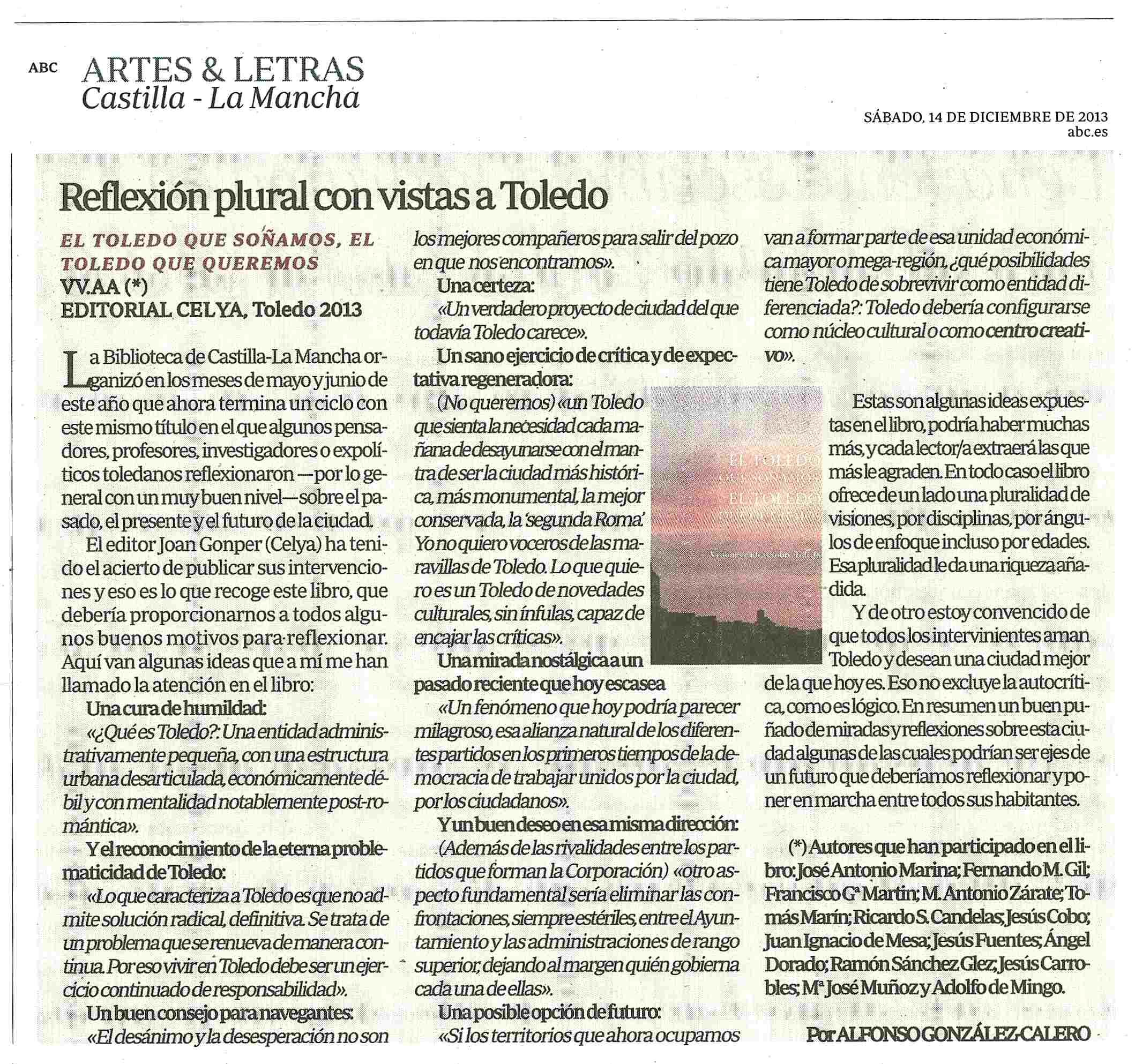 ABC : El Toledo que soñamos... Por Alfonso González-Calero.