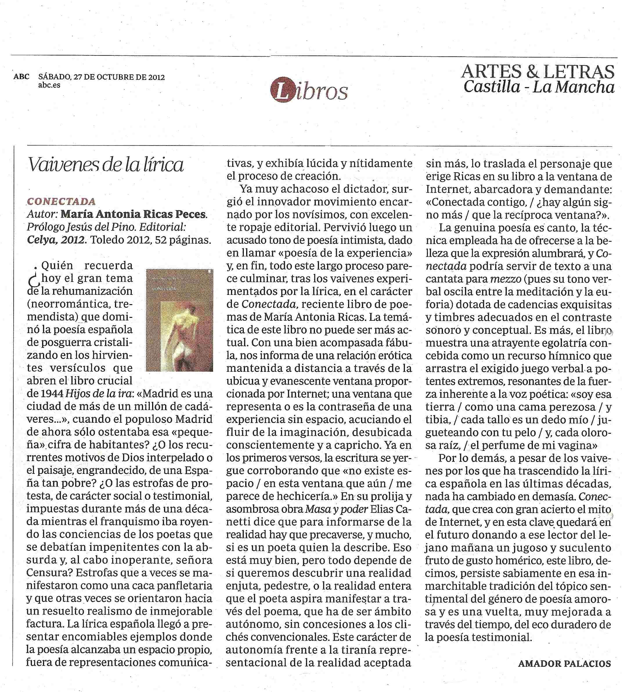 ABC Artes&Letras : CONECTADA, de Mª Antonia Ricas. Por Amador Palacios.