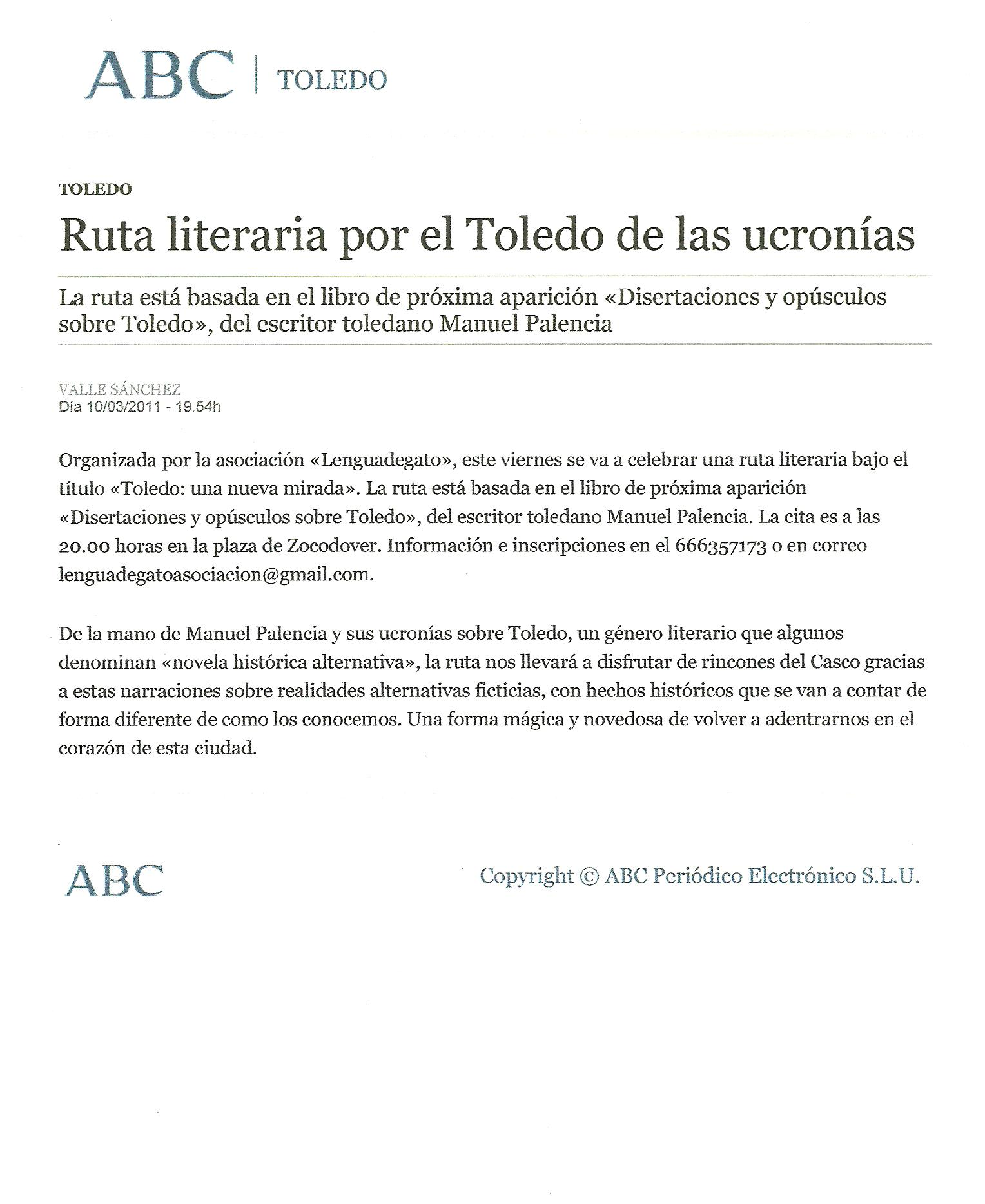 ABC-Toledo: Ruta literaria por Toledo, por Valle Sánchez.
