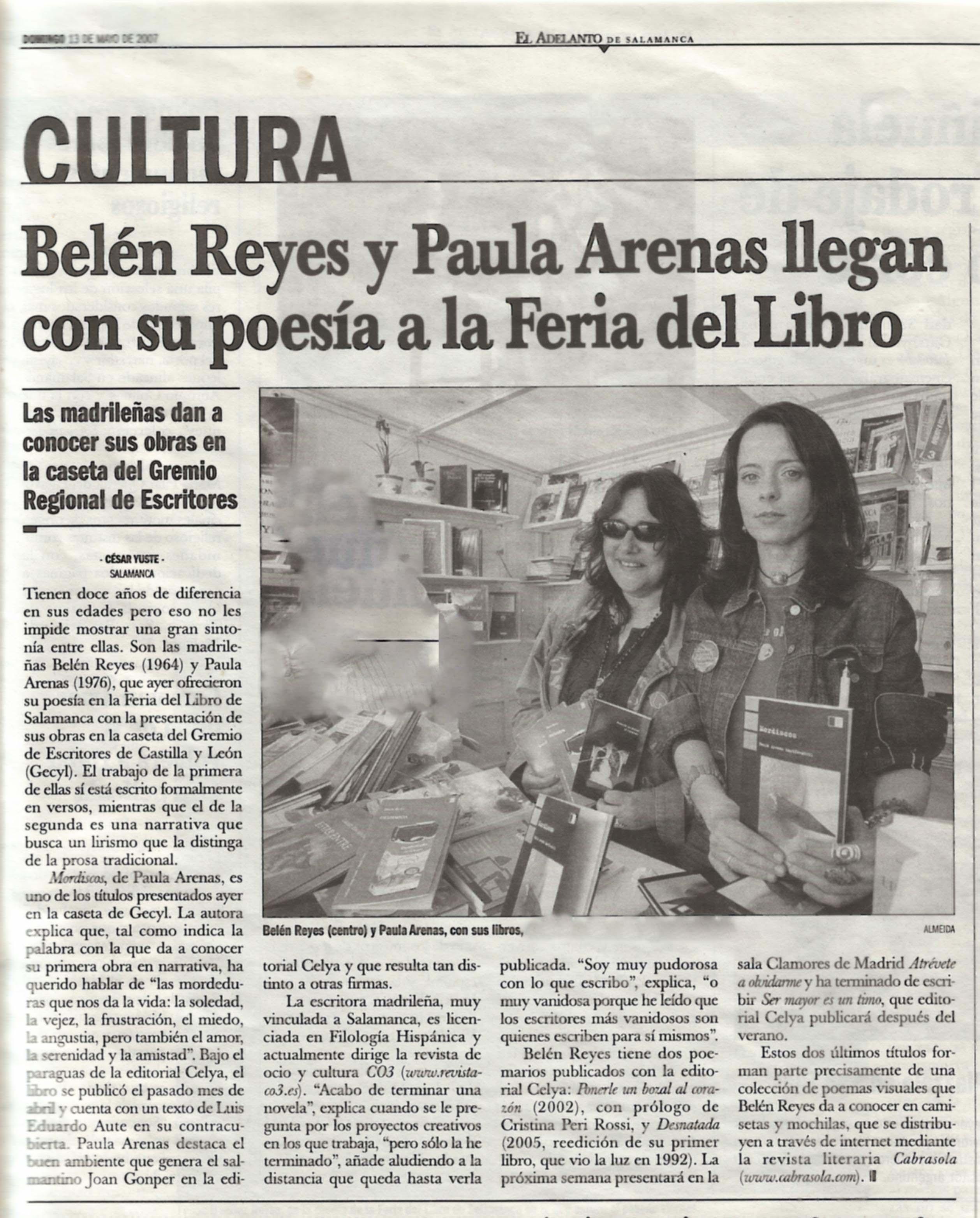EL ADELANTO DE SALAMANCA: Belén Reyes y Paula Arenas en la Feria del Libro de Salamanca.