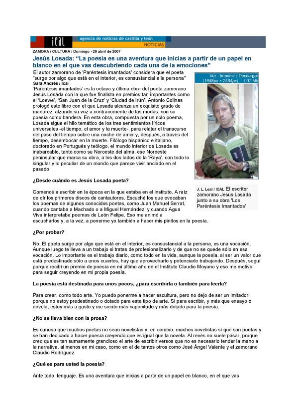 Agencia ICAL: Los Paréntesis imantados, de Jesús Losada