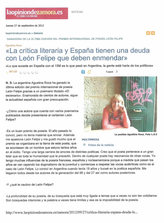 LA OPINIÓN DE ZAMORA : Premio León Felipe 2012