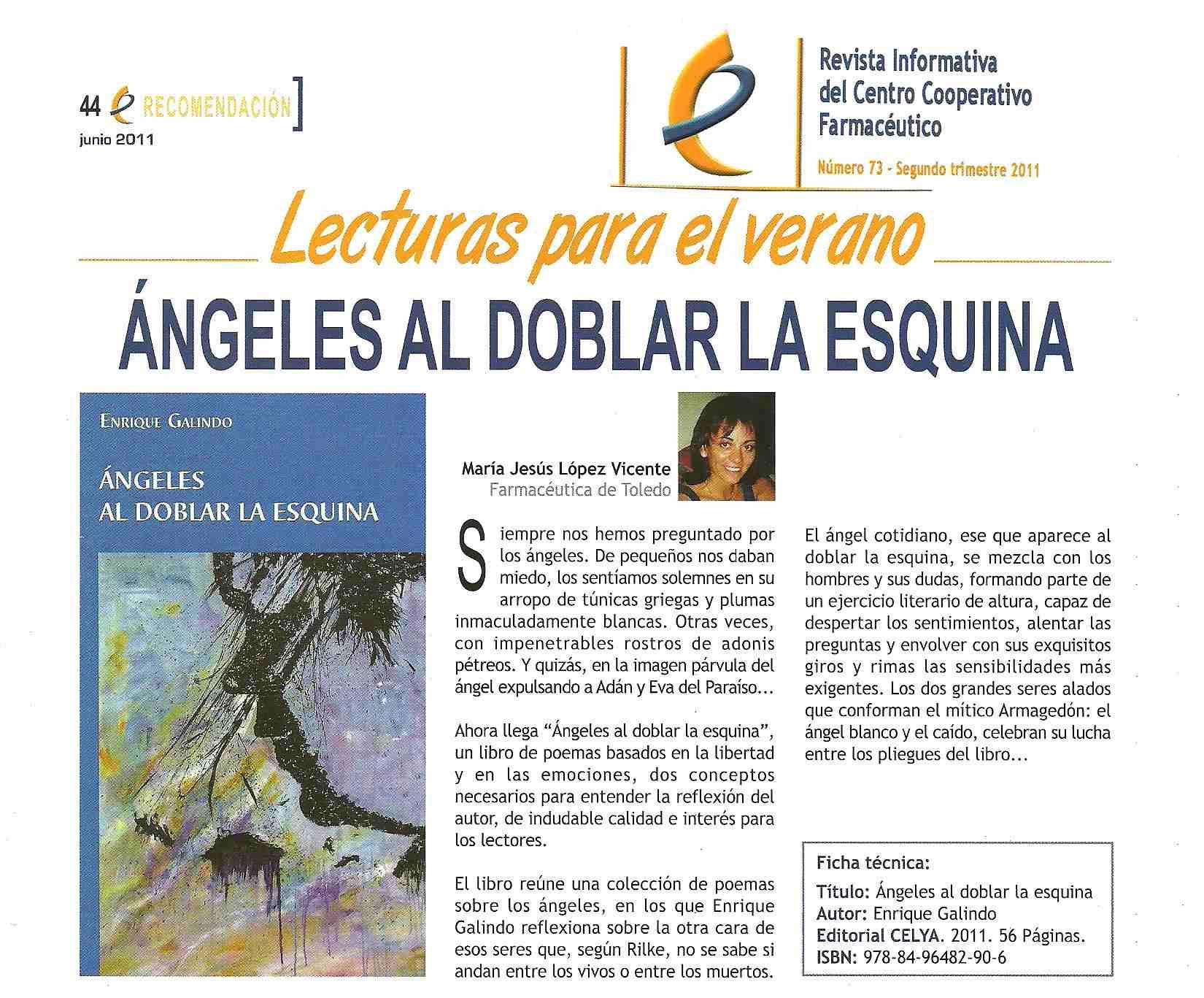 Revista CECOFAR: Ángeles al doblar la esquina, Recomendación literaria.