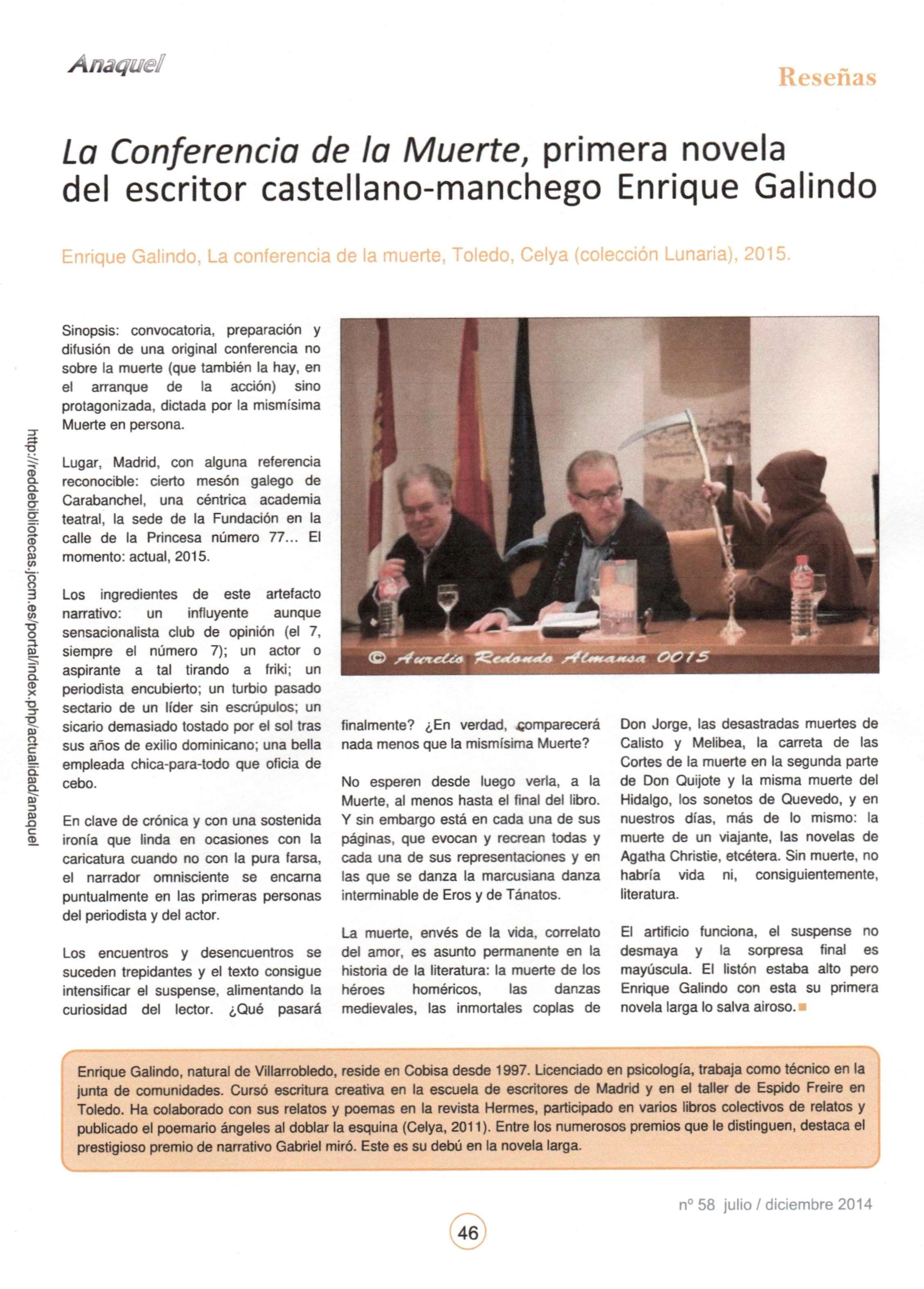 ANAQUEL : La conferencia de La Muerte, por Antonio Lázaro.