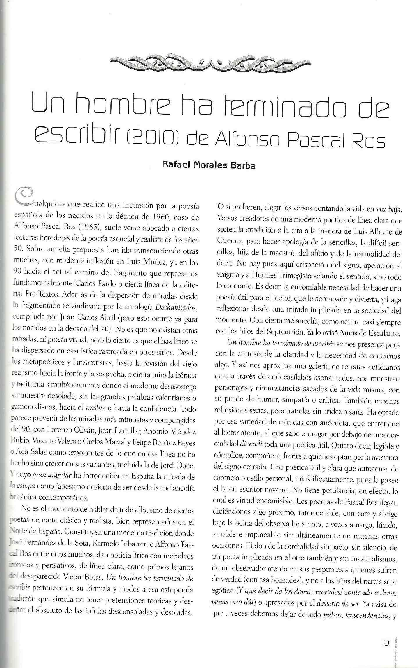 """CUADERNOS DEL MATEMÁTICO: Reseña del libro """"Un hombre ha terminado de escribir"""", de Alfonso Pascal."""