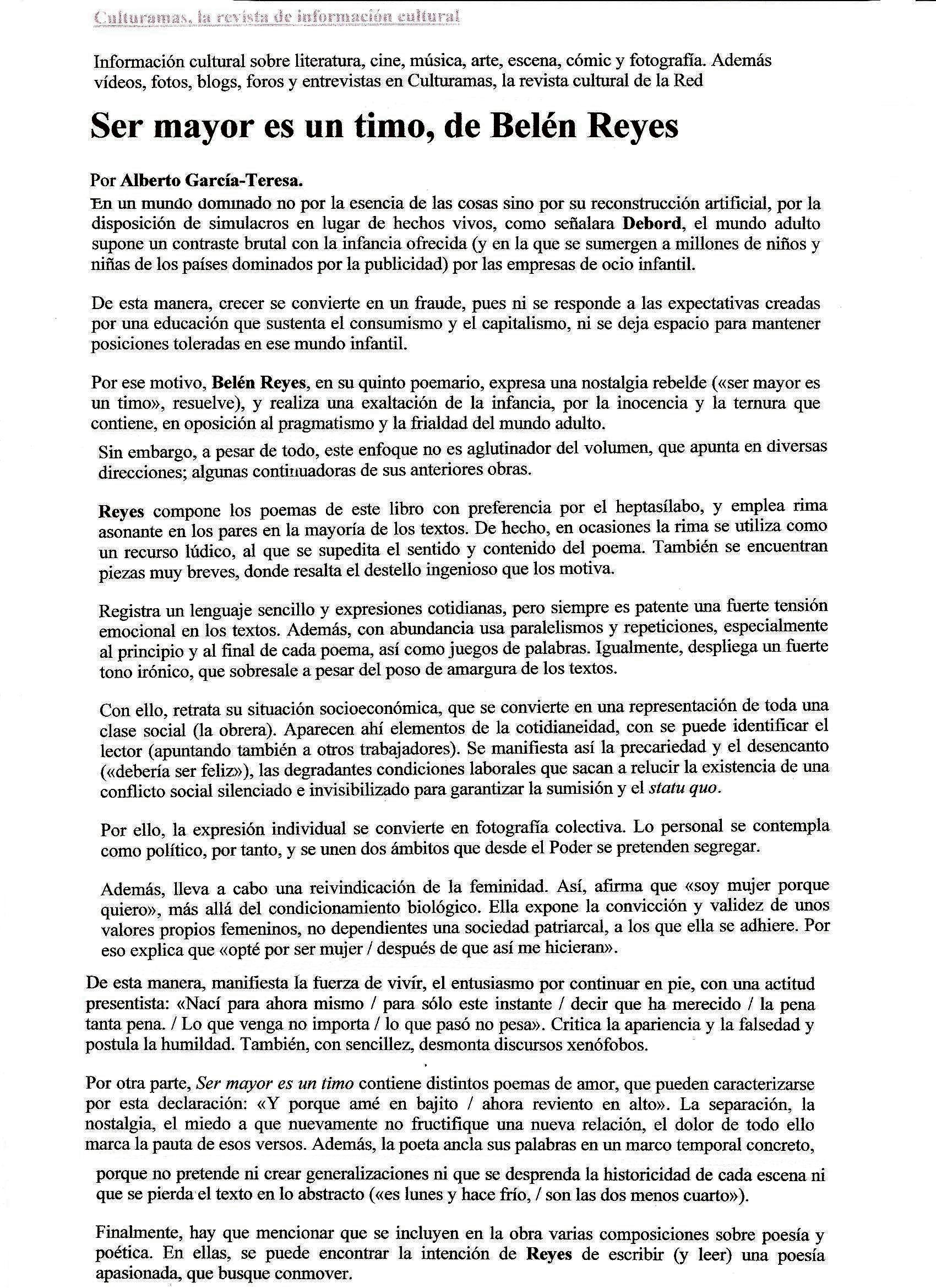 """CULTURAMAS: """"Ser mayor es un timo"""", de Belén Reyes, por Alberto García-Teresa."""