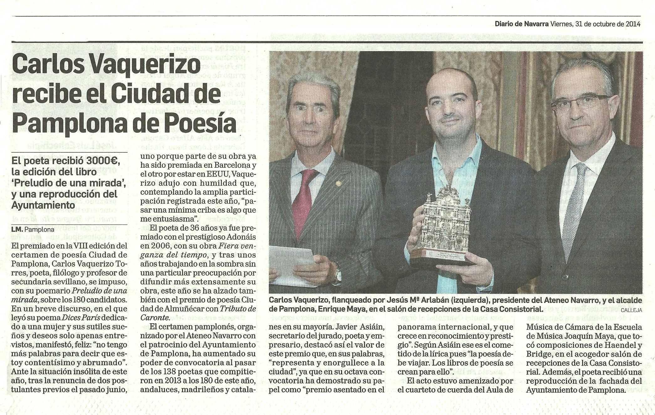 DIARIO DE NAVARRA : Premio Ciudad de Pamplona 2014.