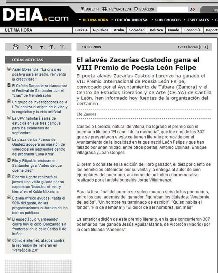 """DEIA: El alavés Zacarías Custodio recibe el VIII Premio """"León Felipe"""" de Poesía."""