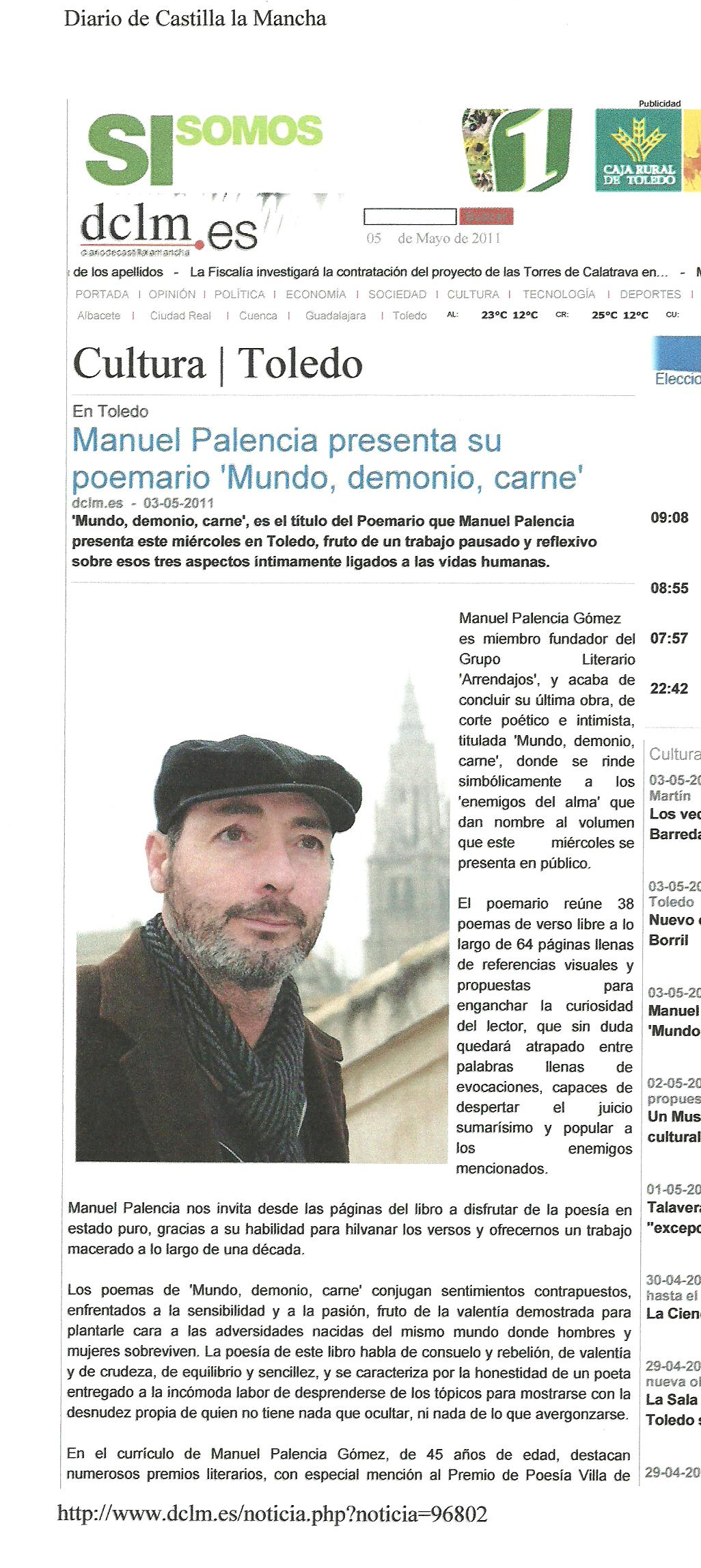 """DIARIO DE CASTILLA LA MANCHA: Manuel Palencia presenta su poemario """"Mundo, demonio, carne""""."""