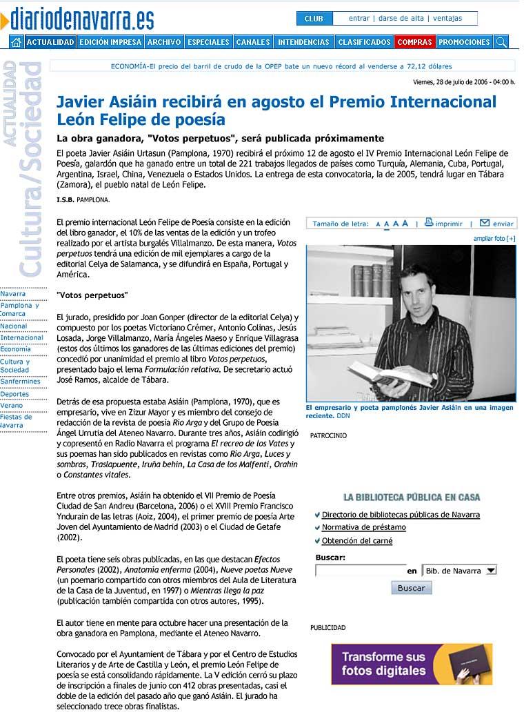 """Diario de Navarra: IV Premio Inernacional de Poesía """"León Felipe"""" para Javier Asiain."""