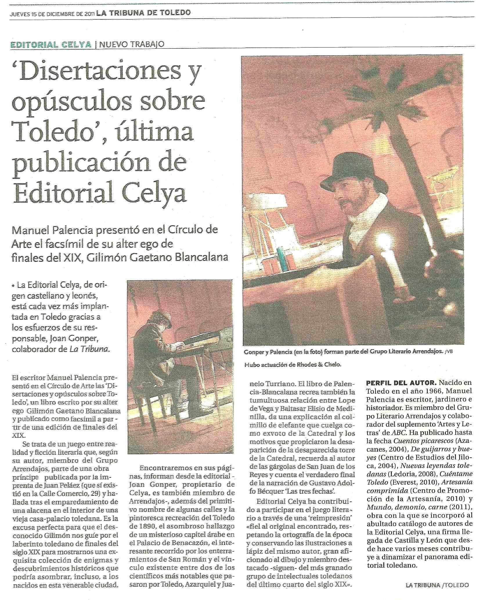 LA TRIBUNA DE TOLEDO: Presentación de 'Disertaciones y opúsculos sobre Toledo'.