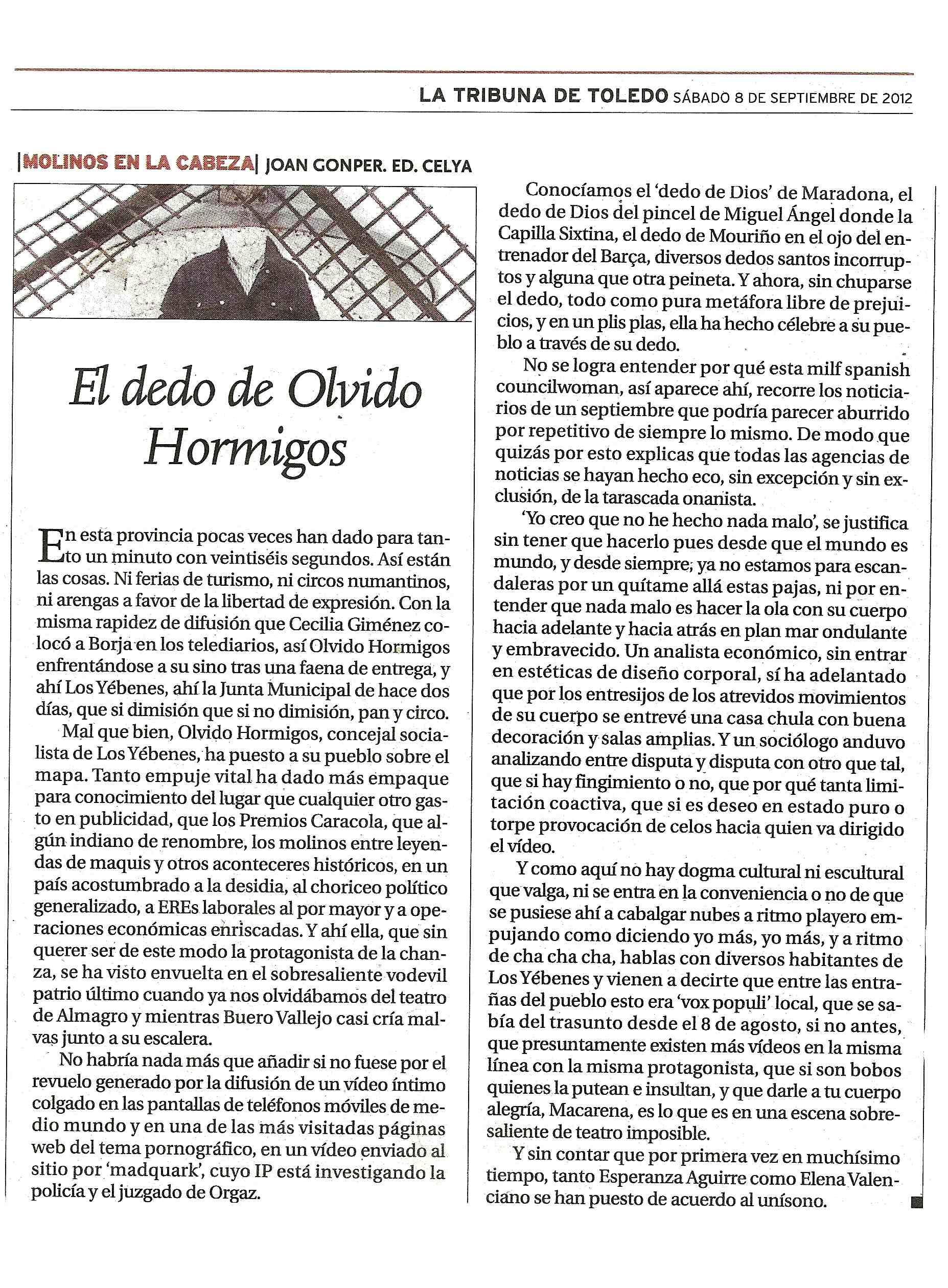 LA TRIBUNA DE TOLEDO : EL DEDO DE OLVIDO H.