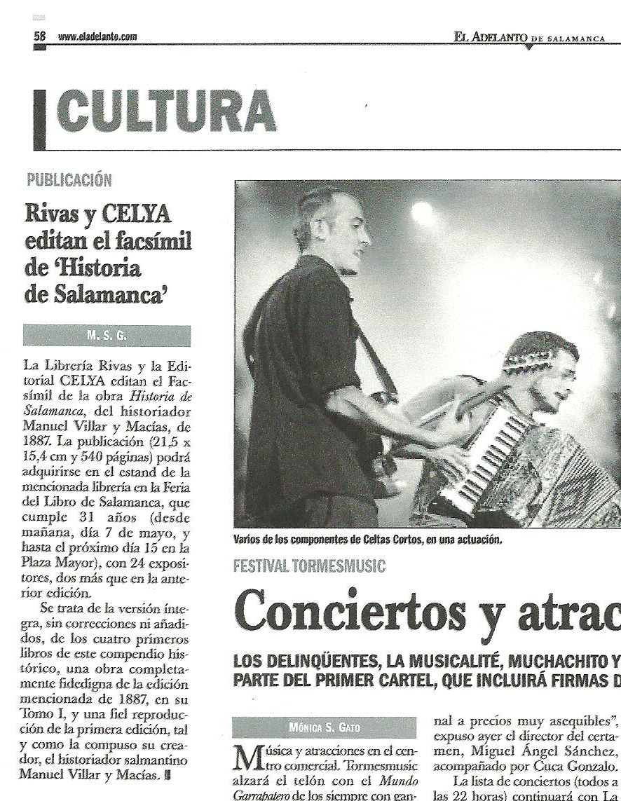 """EL ADELANTO DE SALAMANCA: Edición del facsímil de la """"Historia de Salamanca"""", de M. Villar y Macías."""