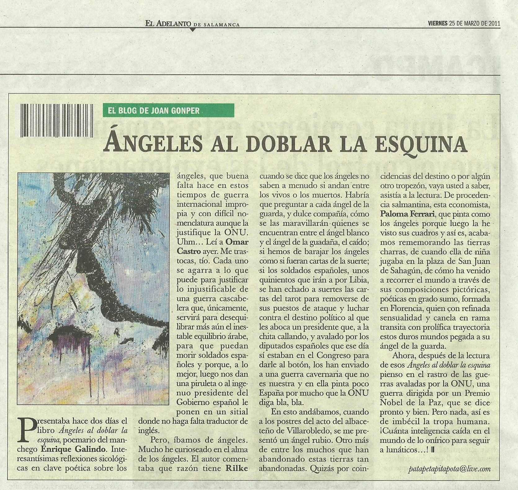 """EL ADELANTO DE SALAMANCA: """"Ángeles al doblar la esquina"""", de Enrique Galindo."""