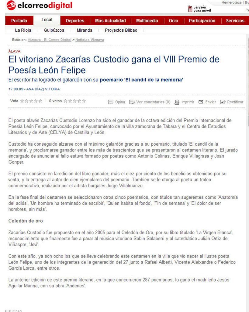 EL CORREO DIGITAL: El vitoriano Zacarías Custodio...