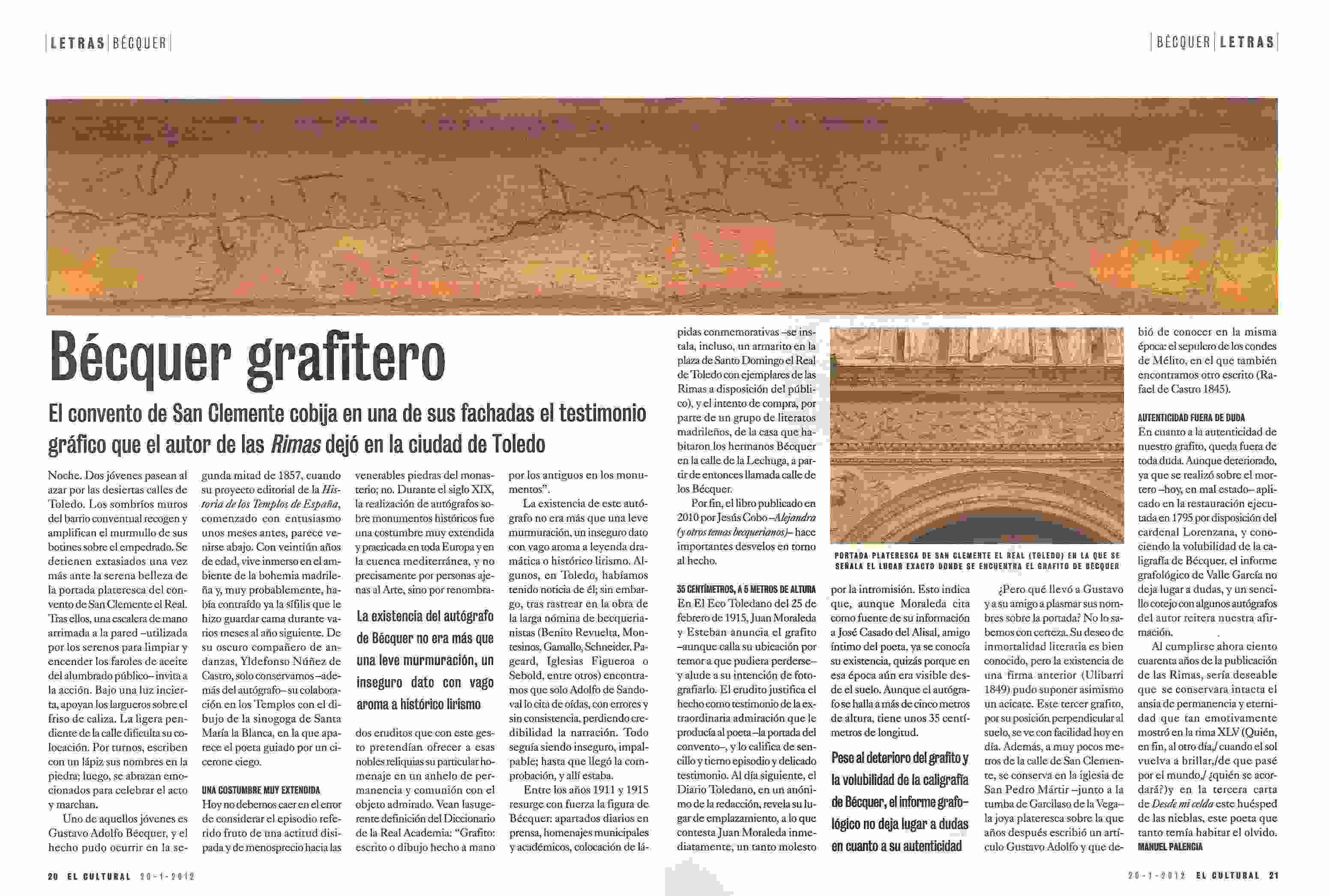 """EL CULTURAL: """"Bécquer grafitero"""", por Manuel Palencia."""