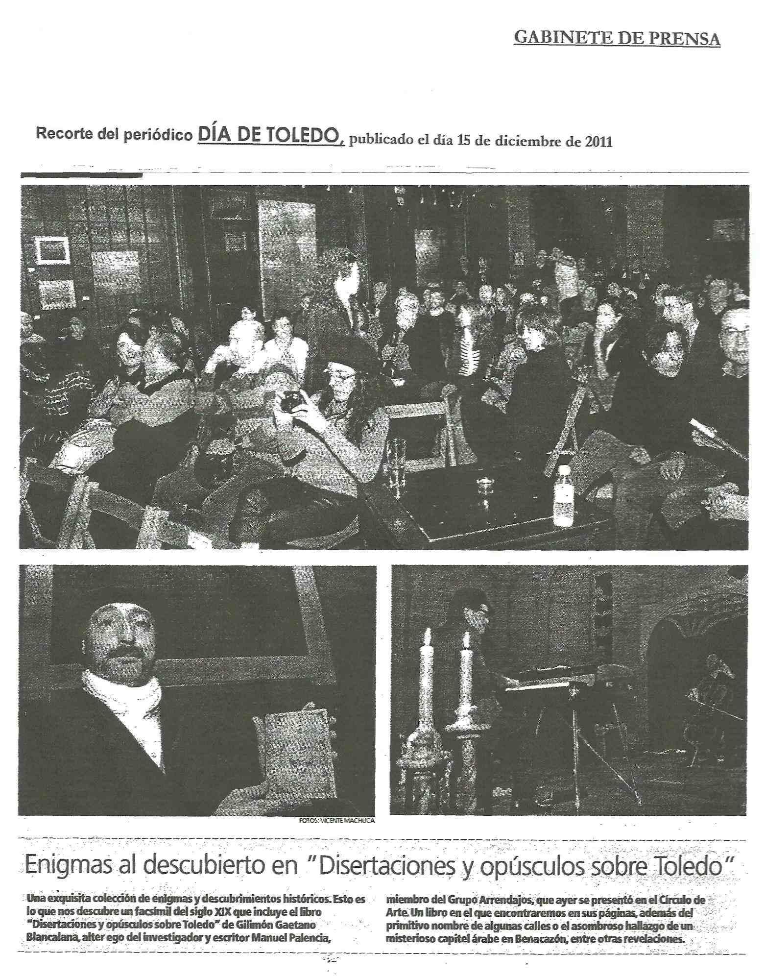 EL DÍA DE TOLEDO: 'Disertaciones y opúsculos sobre Toledo'.