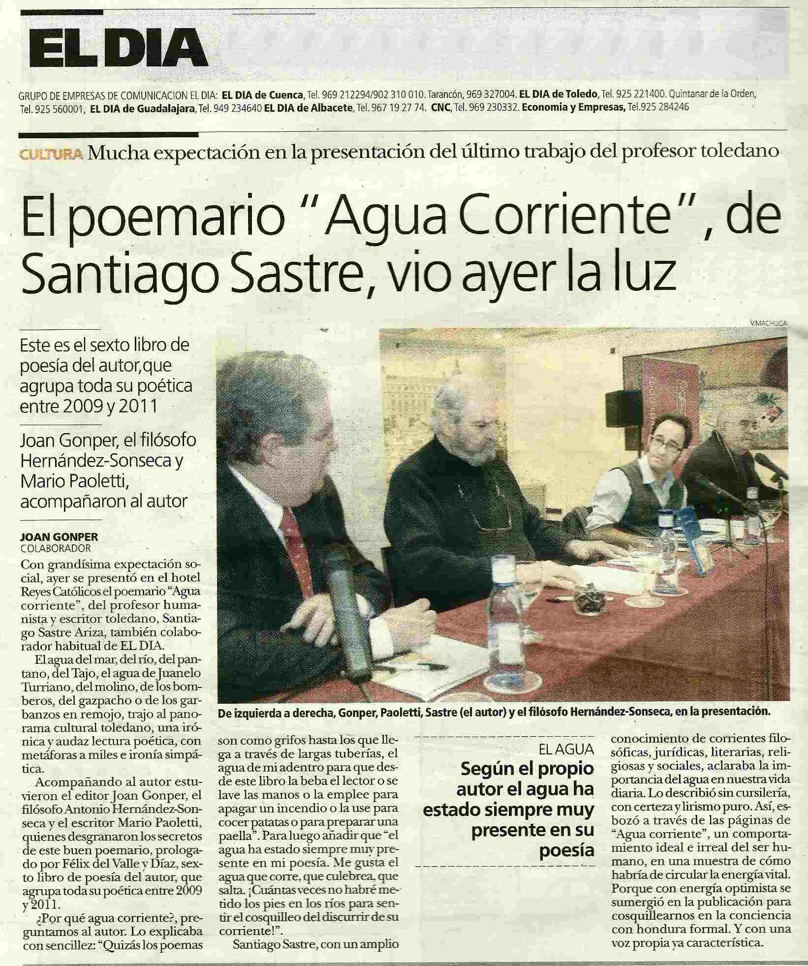 EL DÍA: Presentación de 'Agua corriente' de Santiago Sastre.