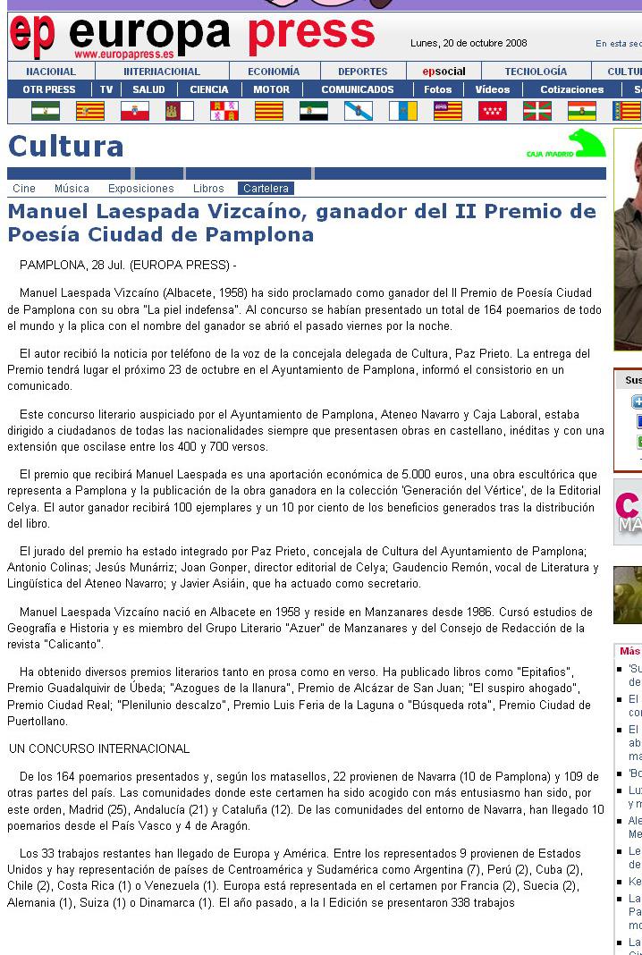 """EUROPA PRESS: II Premio de Poesía """"Ciudad de Pamplona"""""""