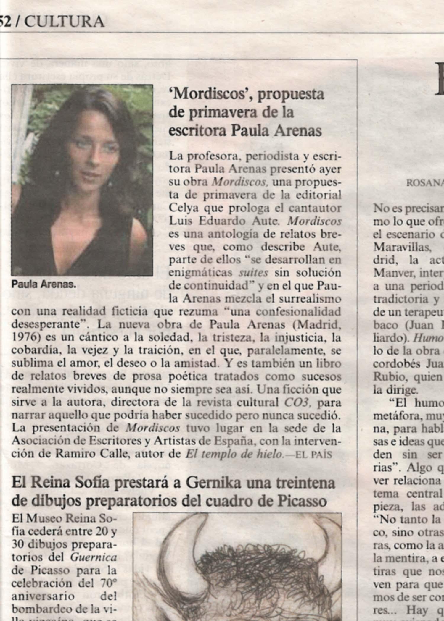 """EL PAÍS: """"Mordiscos"""" de Paula Arenas."""