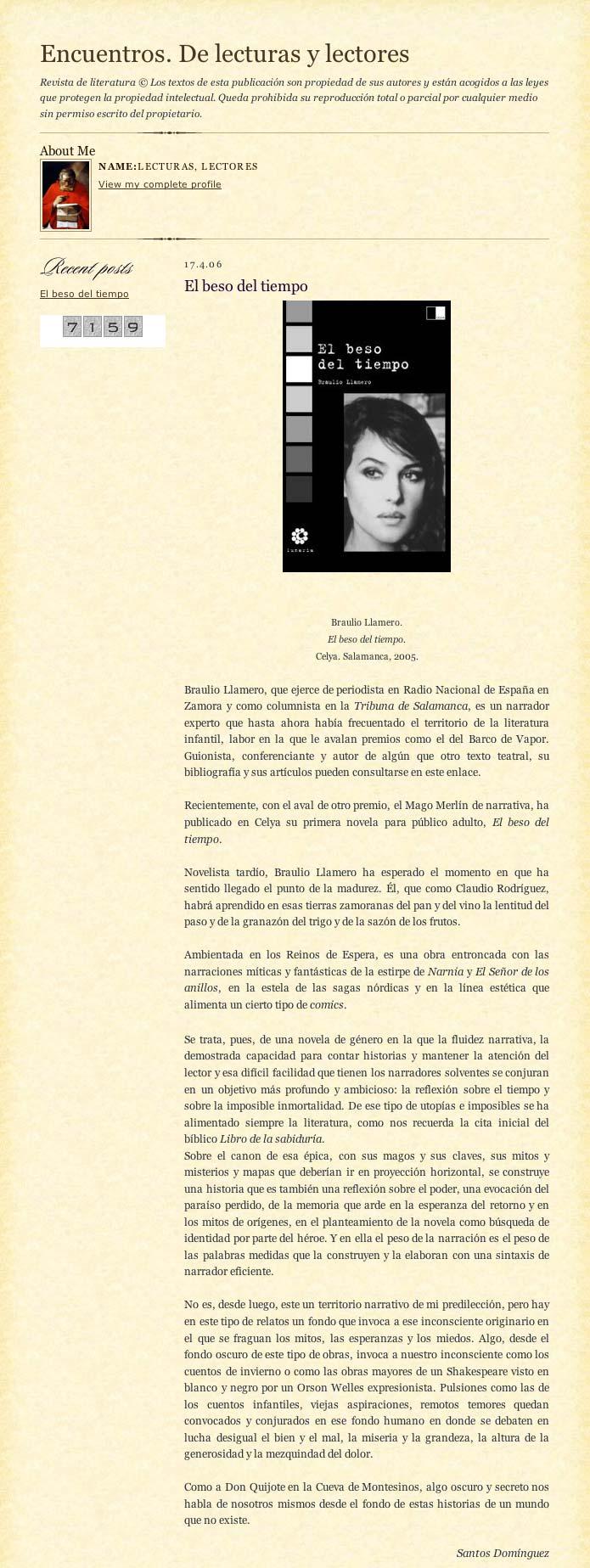 """REVISTA ENCUENTROS. DE LECTURAS Y LECTORES.: """"El beso del tiempo"""", de Braulio Llamero, por Santos Domínguez."""