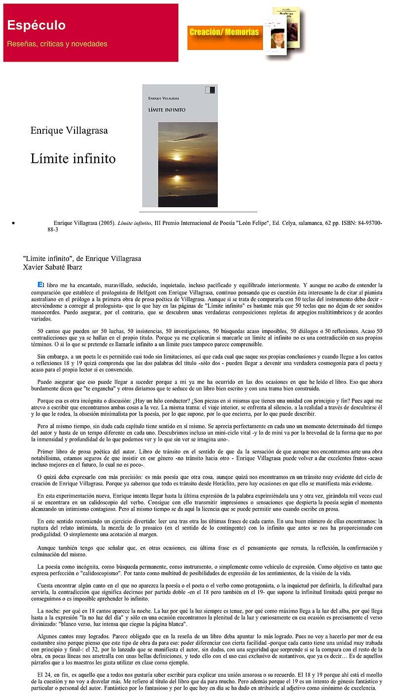 """REVISTA ESPÉCULO: """"Límite infinito"""", de Enrique Villagrasa."""