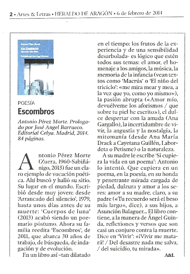 HERALDO DE ARAGÓN : Escombros, de Antonio Pérez Morte.