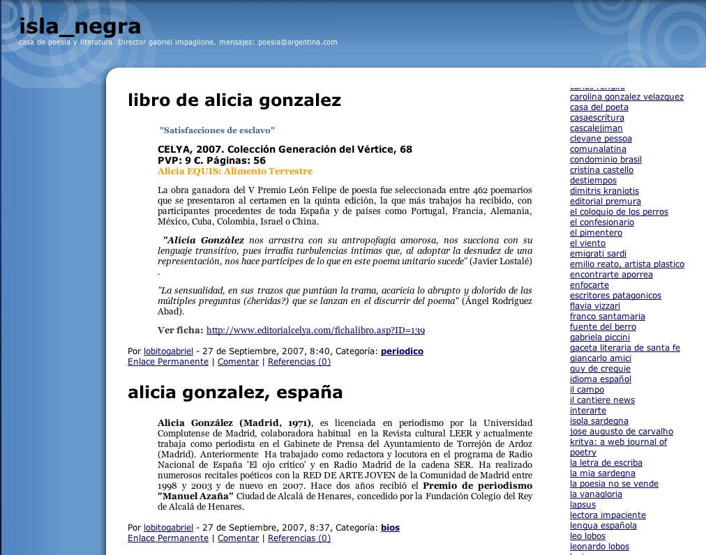 ISLA NEGRA: Satisfacciones de esclavo, de Alicia González
