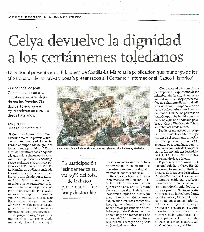 LA TRIBUNA DE TOLEDO : Presentación de la antología literaria 'Casco Histórico'