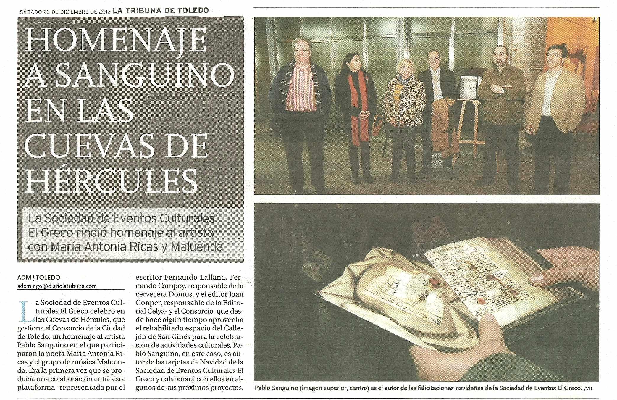 LA TRIBUNA DE TOLEDO : Homenaje al pintor Pablo Sanguino.
