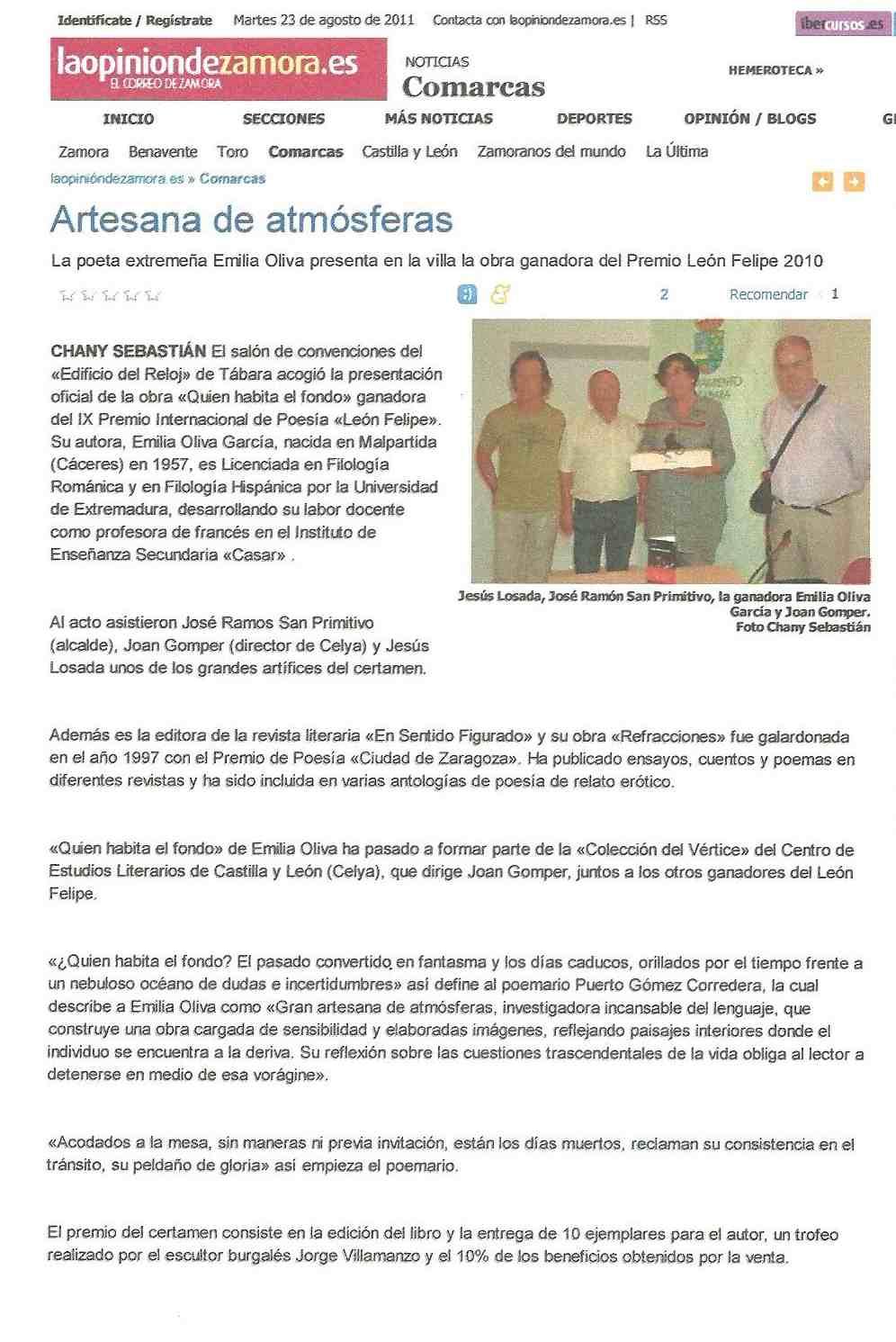 LA OPINION DE ZAMORA: Entrega del Premio 'León Felipe' de Poesía, 2011.