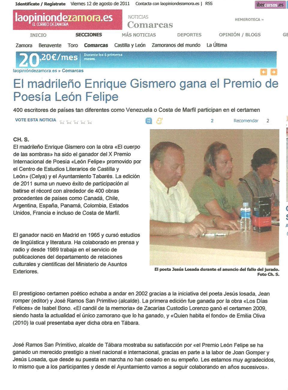 """LA OPINION DE ZAMORA: Enrique Gismero gana el X Premio Internacional de Poesía """"León Felipe""""."""