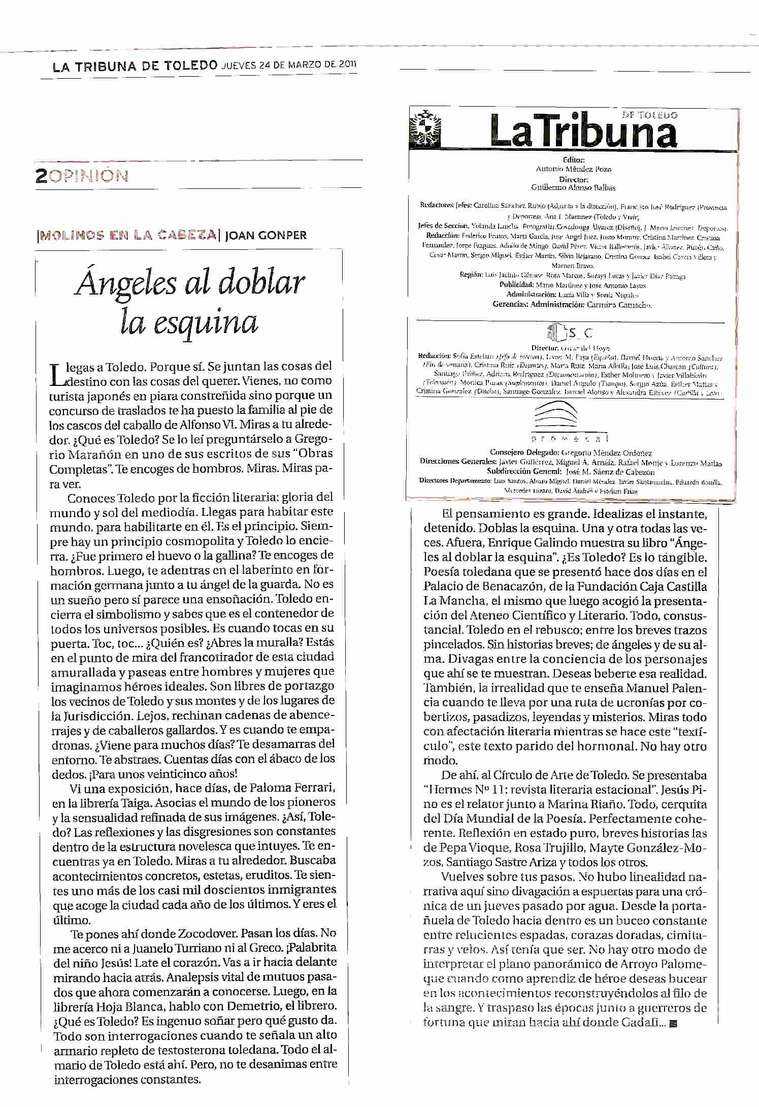 """LA TRIBUNA DE TOLEDO: Sobre """"Ángeles al doblar la esquina"""", de Enrique Galindo."""