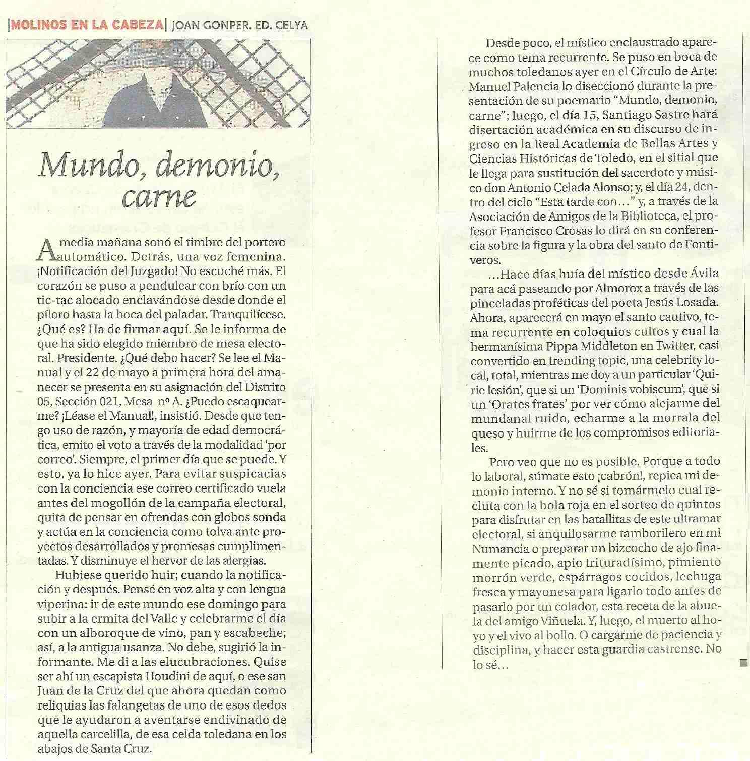 LA TRIBUNA DE TOLEDO: Mundo, demonio, carne. Opinión.