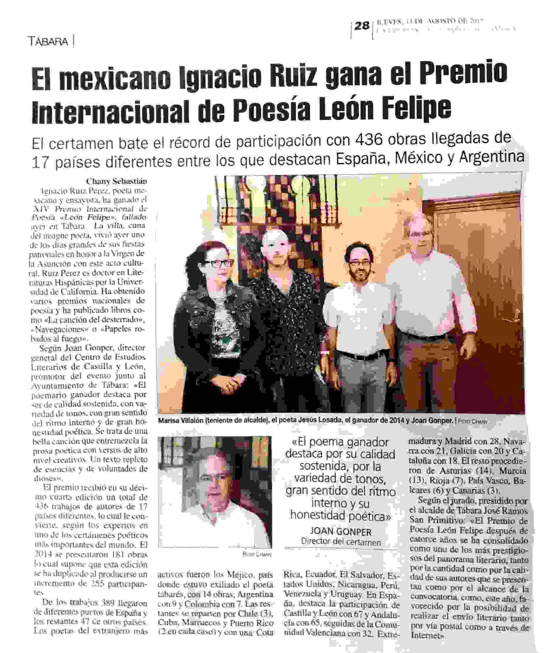 LA OPINION DE ZAMORA : XIII PREMIO DE POESIA LEON FELIPE