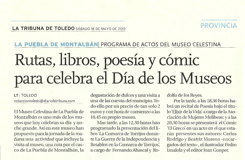 LA TRIBUNA DE TOLEDO : EL GRECO en el Museo La Celestina. Día Mundial de los Museos, 2013.