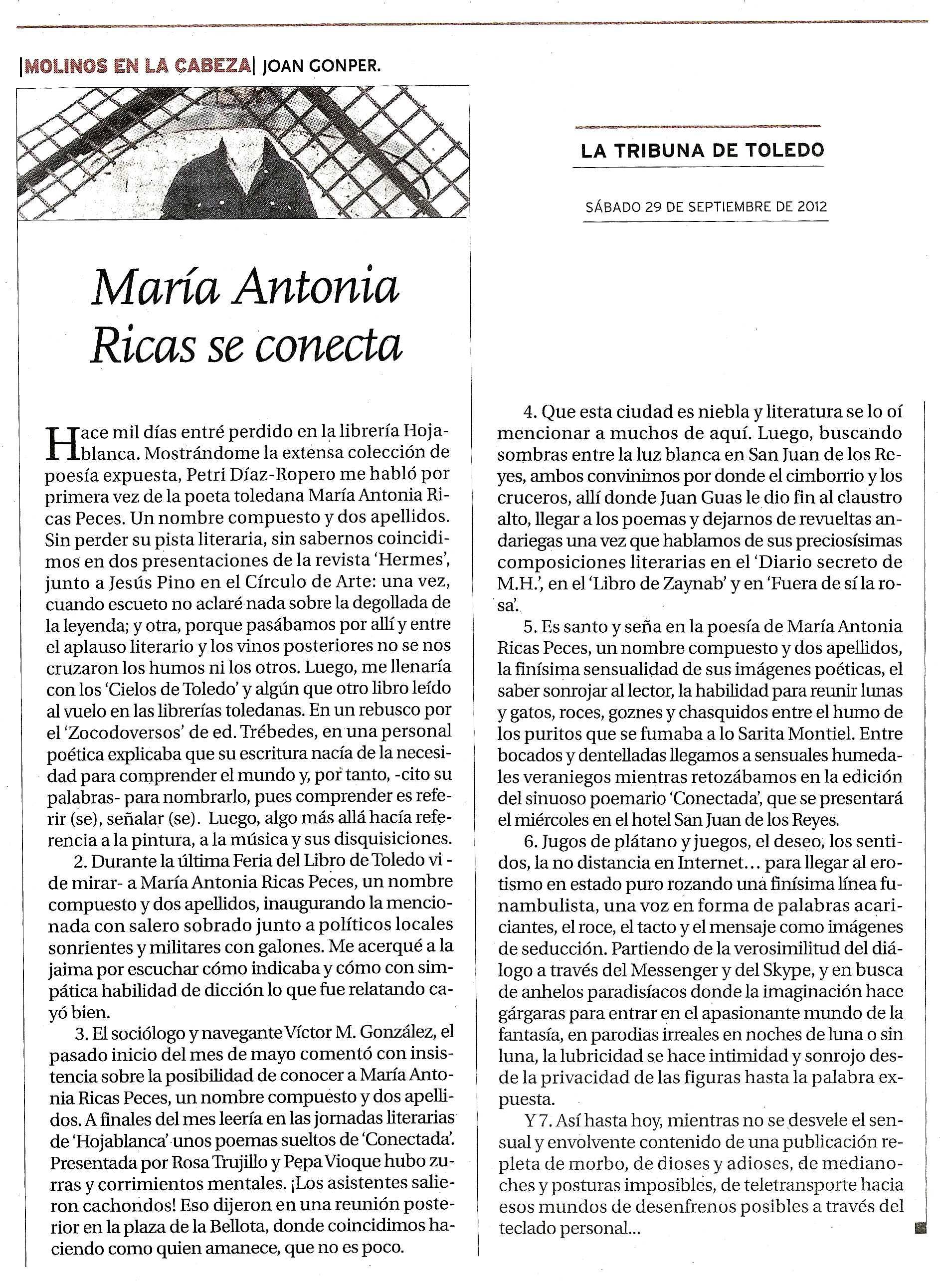 LA TRIBUNA DE TOLEDO : María Antonia Ricas se conecta.