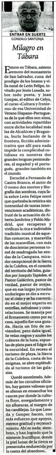 DIARIO DE BURGOS: MILAGRO EN TÁBARA, por Gonzalo Santonja.