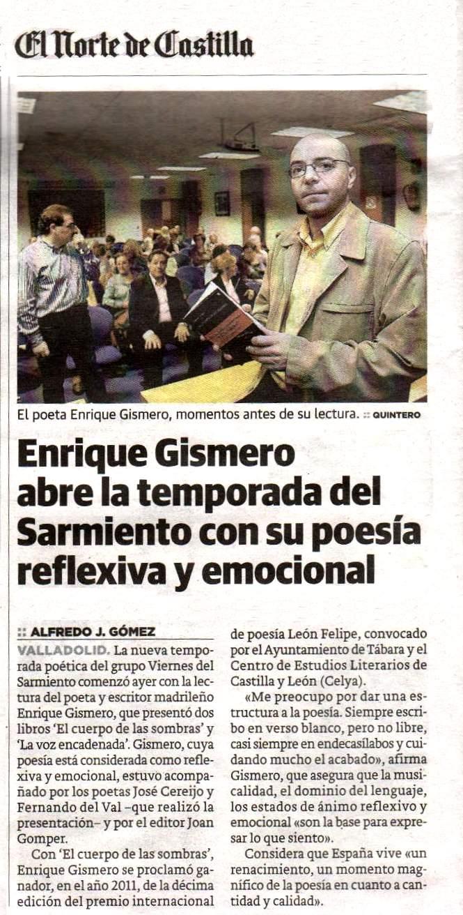 EL NORTE DE CASTILLA : Presentación en Valladolid de 'El cuerpo de las sombras', de Enrique Gismero.