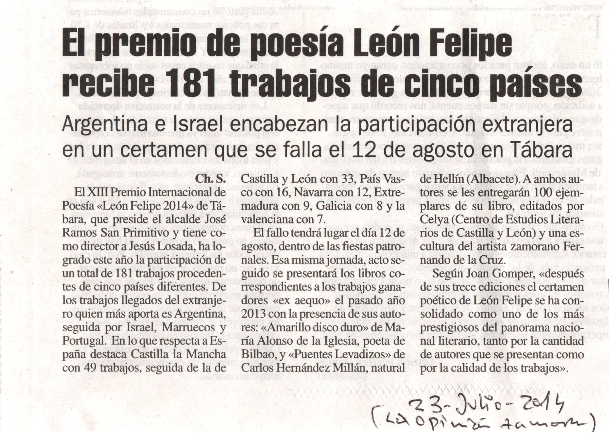 LA OPINIÓN DE ZAMORA : Premio León Felipe 2014