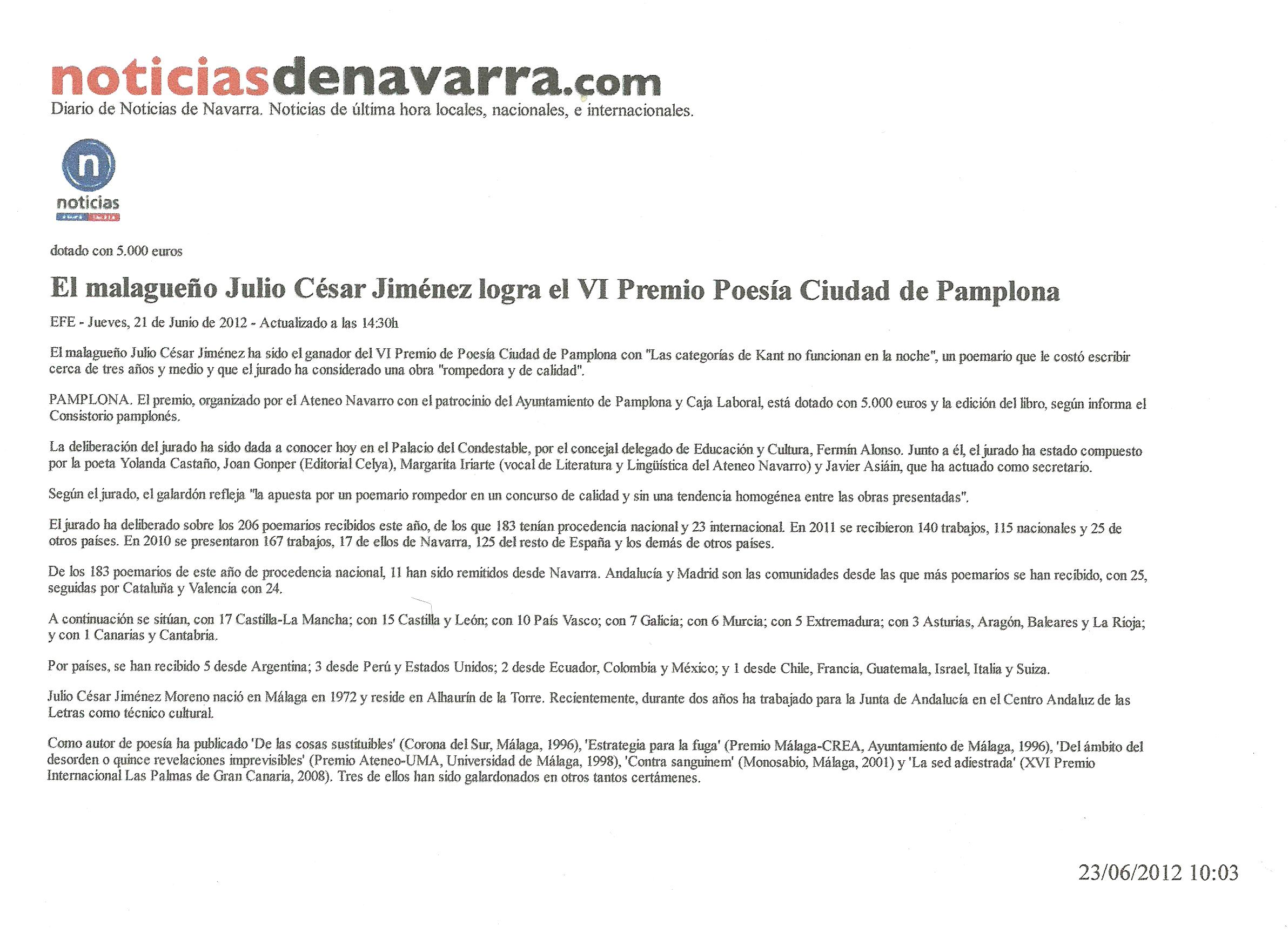 Noticias de Navarra : Julio César Jiménez logra el VI Pemio de Poesía 'Ciudad de Pamplona'.