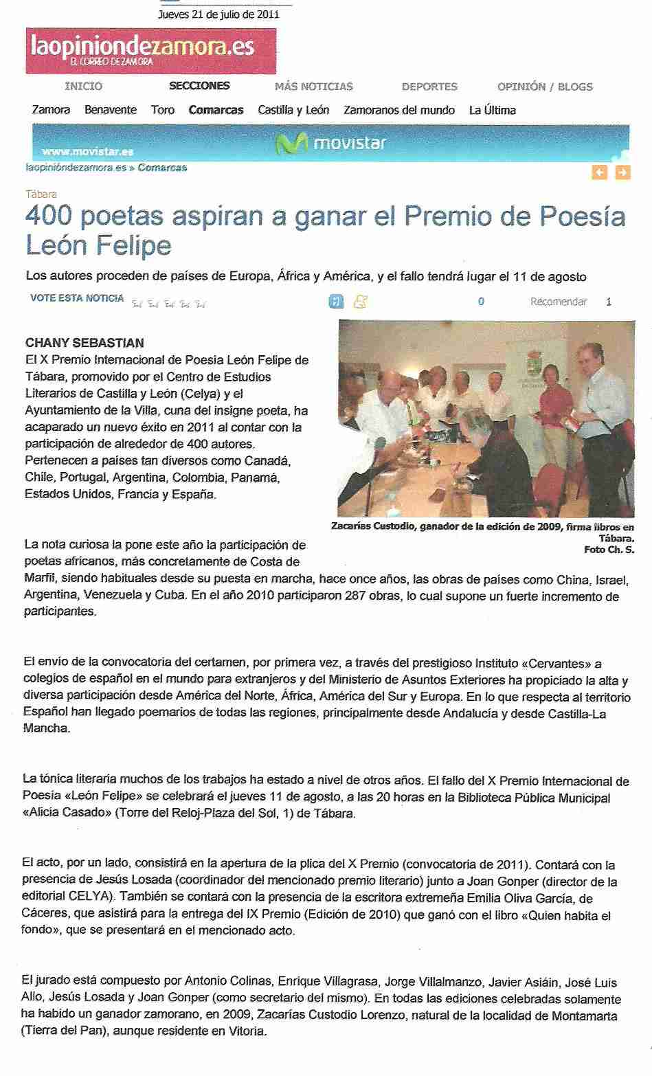LA OPINION DE ZAMORA: Premio de Poesía 'León Felipe' 2011.