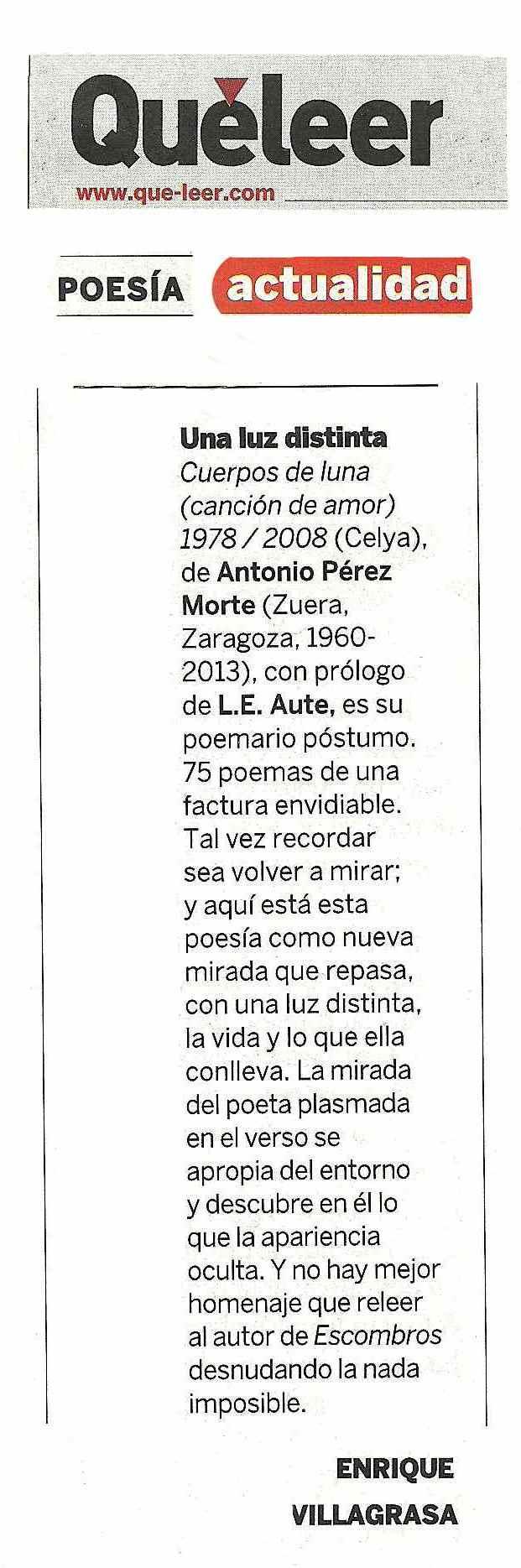 QUÉ LEER : El último poemario de Pérez Morte. Por Enrique Villagrasa
