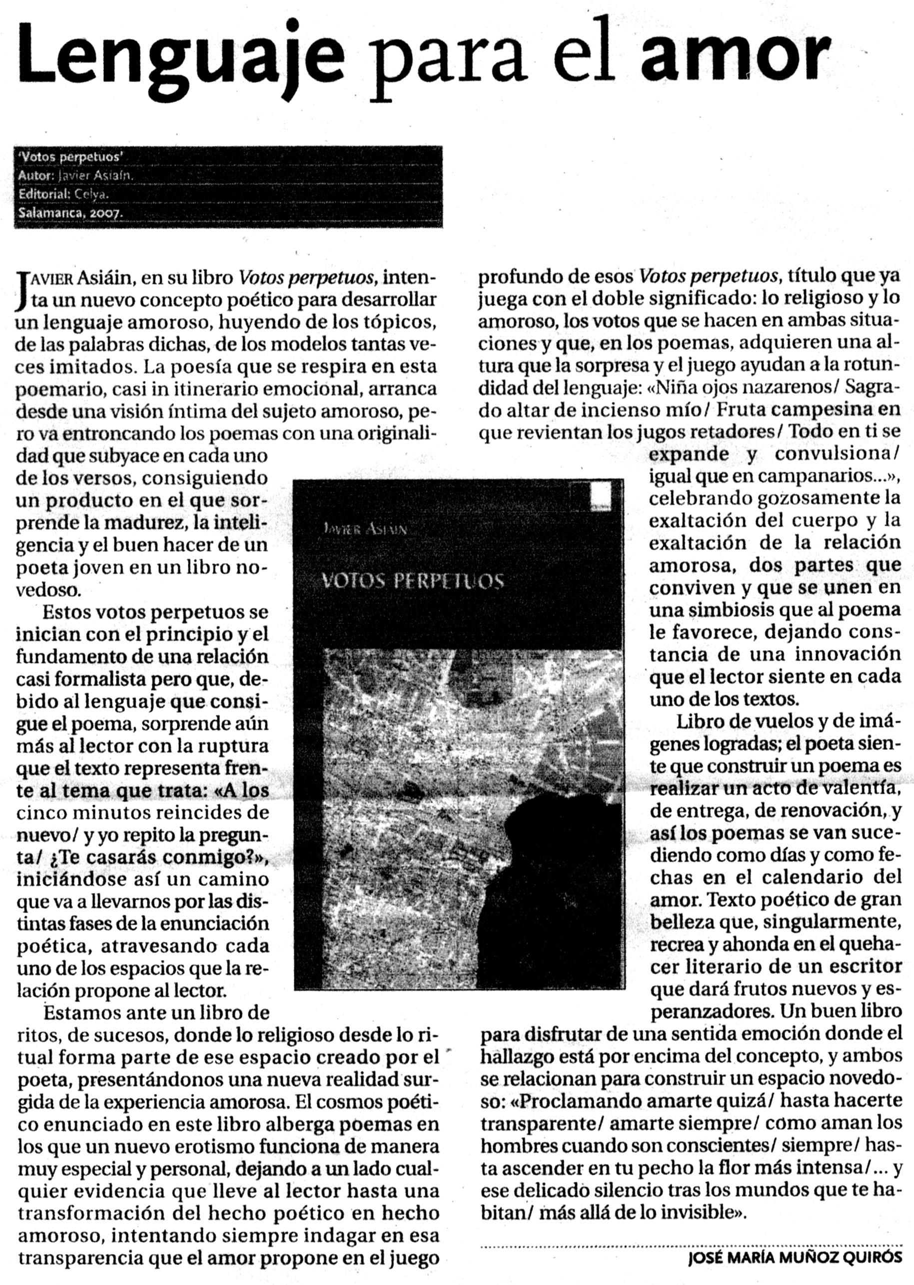DIARIO DE ÁVILA: Votos perpetuos, de Javier Asiáin.