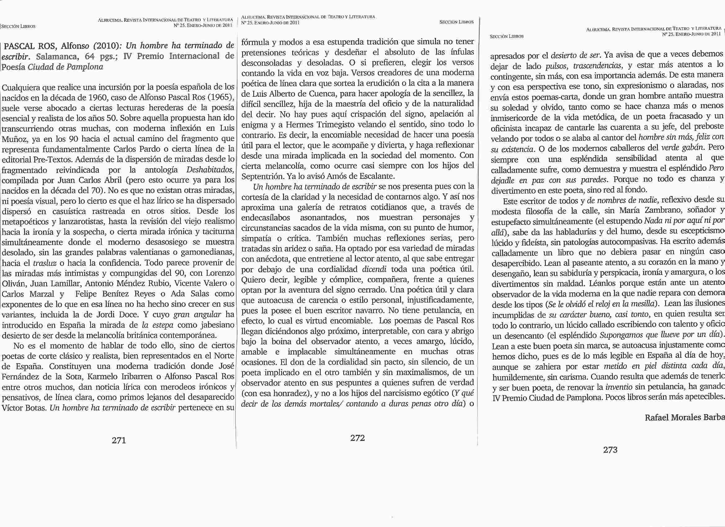 Revista ALHUCEMA: Sobre 'Un hombre ha terminado de escribir'. Por Rafael Morales Barba.